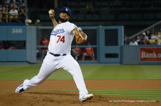 Los Angeles Dodgers Kenley Jansen pitches against the Los Angeles Angels of Anaheim Tuesday, May 17, 2016 at Dodger Stadium in Los Angeles, California.  Jon SooHoo/©Los Angeles Dodgers,LLC 2016