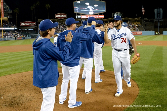 Los Angeles Dodgers celebrate win against the Los Angeles Angels of Anaheim Tuesday, May 17, 2016 at Dodger Stadium in Los Angeles, California.  Jon SooHoo/©Los Angeles Dodgers,LLC 2016