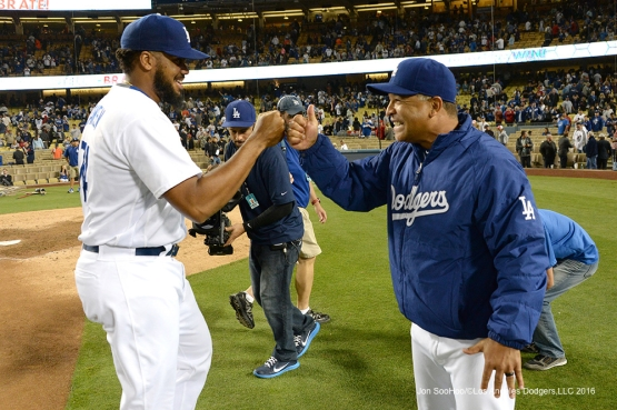 Los Angeles Dodgers Dave Roberts and Kenley Jansen fist pump after  win against the Los Angeles Angels of Anaheim Tuesday, May 17, 2016 at Dodger Stadium in Los Angeles, California.  Jon SooHoo/©Los Angeles Dodgers,LLC 2016
