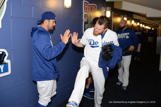 Los Angeles Dodgers prior to game against the Los Angeles Angels of Anaheim Tuesday, May 17, 2016 at Dodger Stadium in Los Angeles, California.  Jon SooHoo/©Los Angeles Dodgers,LLC 2016