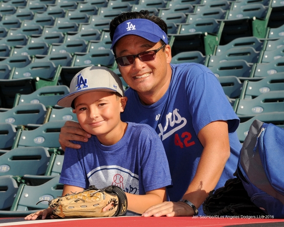 Great Los Angeles Dodgers fans prior to game against the Los Angeles Angels of Anaheim Wednesday, May 18, 2016 at Angels Stadium in Anaheim, California.  Jon SooHoo/©Los Angeles Dodgers,LLC 2016