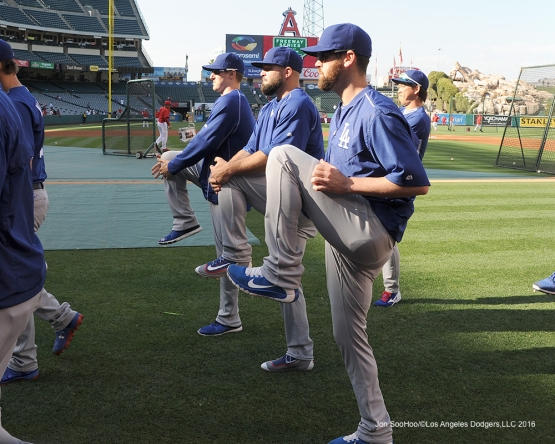 Los Angeles Dodgers prior to game against the Los Angeles Angels of Anaheim Wednesday, May 18, 2016 at Angels Stadium in Anaheim, California.  Jon SooHoo/©Los Angeles Dodgers,LLC 2016