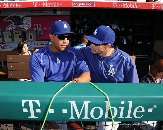 Los Angeles Dodgers Dave Roberts and Turner Ward prior to game against the Los Angeles Angels of Anaheim Wednesday, May 18, 2016 at Angels Stadium in Anaheim, California.  Jon SooHoo/©Los Angeles Dodgers,LLC 2016