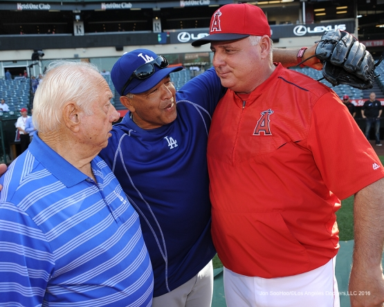 Tommy Lasorda, Dave Roberts and Mike Scioscia prior to game against the Los Angeles Angels of Anaheim Wednesday, May 18, 2016 at Angels Stadium in Anaheim, California.  Jon SooHoo/©Los Angeles Dodgers,LLC 2016