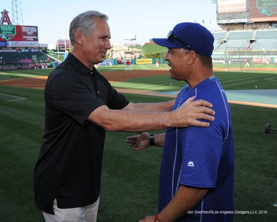 Bud Black and Dave Roberts prior to game against the Los Angeles Angels of Anaheim Wednesday, May 18, 2016 at Angels Stadium in Anaheim, California.  Jon SooHoo/©Los Angeles Dodgers,LLC 2016