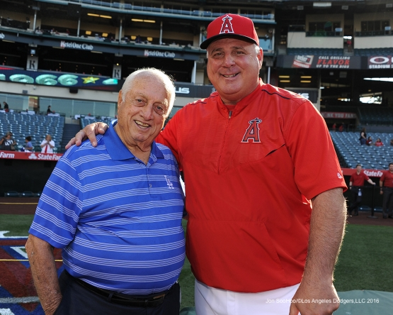 Los Angeles Dodgers Tommy Lasorda and Mike Scioscia prior to game against the Los Angeles Angels of Anaheim Wednesday, May 18, 2016 at Angels Stadium in Anaheim, California.  Jon SooHoo/©Los Angeles Dodgers,LLC 2016