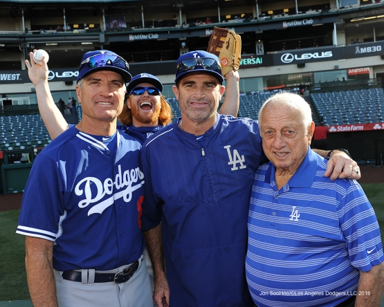 Bob Geren, Turner Ward and Tommy Lasorda with Justin Turner photo bomber pose prior to game against the Los Angeles Angels of Anaheim Wednesday, May 18, 2016 at Angels Stadium in Anaheim, California.  Jon SooHoo/©Los Angeles Dodgers,LLC 2016