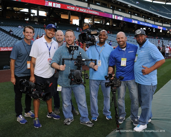 Camera crew poses prior to game against the Los Angeles Angels of Anaheim Wednesday, May 18, 2016 at Angels Stadium in Anaheim, California.  Jon SooHoo/©Los Angeles Dodgers,LLC 2016
