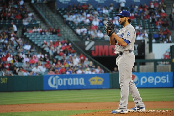Los Angeles Dodgers Mike Bolsinger during game against the Los Angeles Angels of Anaheim Wednesday, May 18, 2016 at Angels Stadium in Anaheim, California.  Jon SooHoo/©Los Angeles Dodgers,LLC 2016