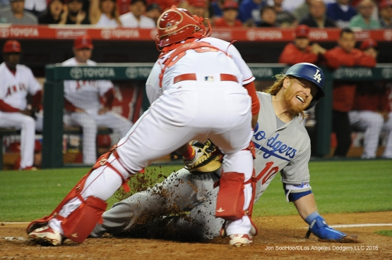 Los Angeles Dodgers Justin Turner is out at home during game against the Los Angeles Angels of Anaheim Wednesday, May 18, 2016 at Angels Stadium in Anaheim, California.  Jon SooHoo/©Los Angeles Dodgers,LLC 2016