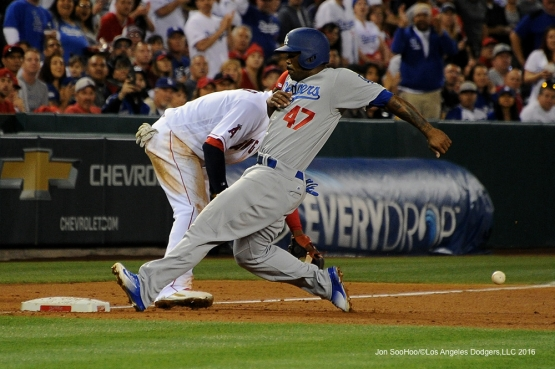 Los Angeles Dodgers Howie Kendrick is safe at third against the Los Angeles Angels of Anaheim Wednesday, May 18, 2016 at Angels Stadium in Anaheim, California.  Jon SooHoo/©Los Angeles Dodgers,LLC 2016
