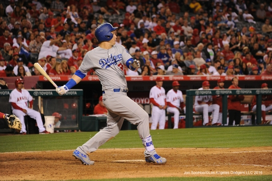 Los Angeles Dodgers Joc Pederson doubles against the Los Angeles Angels of Anaheim Wednesday, May 18, 2016 at Angels Stadium in Anaheim, California.  Jon SooHoo/©Los Angeles Dodgers,LLC 2016
