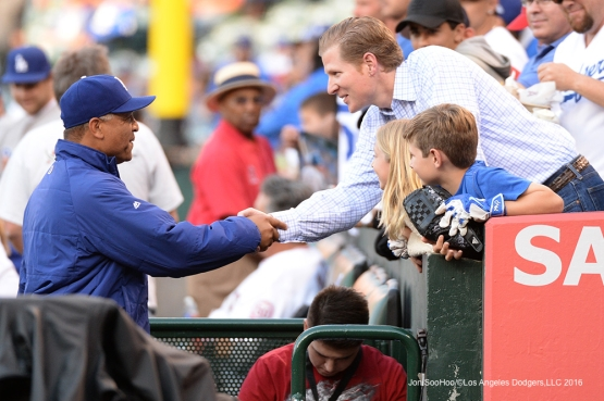 Dave Roberts greets guests during game against the Los Angeles Angels of Anaheim Wednesday, May 18, 2016 at Angels Stadium in Anaheim, California.  Jon SooHoo/©Los Angeles Dodgers,LLC 2016