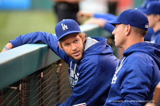 Clayton Kershaw and A.J. Ellis talk during game against the Los Angeles Angels of Anaheim Wednesday, May 18, 2016 at Angels Stadium in Anaheim, California.  Jon SooHoo/©Los Angeles Dodgers,LLC 2016