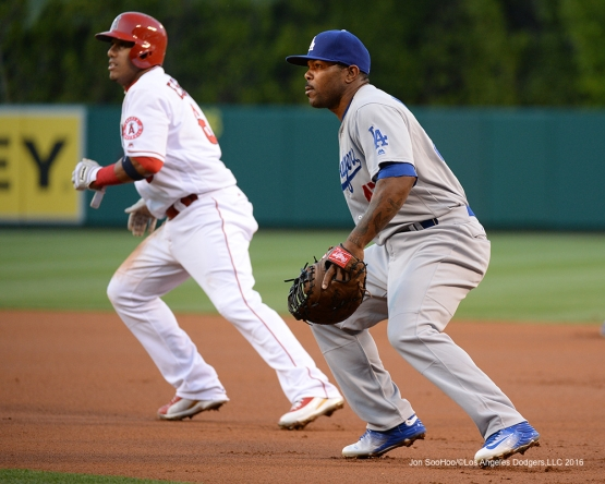 Howie Kendrick at first base against the Los Angeles Angels of Anaheim Wednesday, May 18, 2016 at Angels Stadium in Anaheim, California.  Jon SooHoo/©Los Angeles Dodgers,LLC 2016