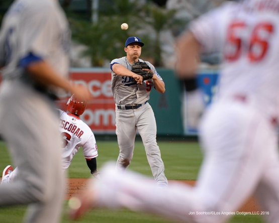 Corey Seager turns double play against the Los Angeles Angels of Anaheim Wednesday, May 18, 2016 at Angels Stadium in Anaheim, California.  Jon SooHoo/©Los Angeles Dodgers,LLC 2016