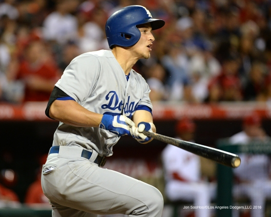 Corey Seager hits against the Los Angeles Angels of Anaheim Wednesday, May 18, 2016 at Angels Stadium in Anaheim, California.  Jon SooHoo/©Los Angeles Dodgers,LLC 2016