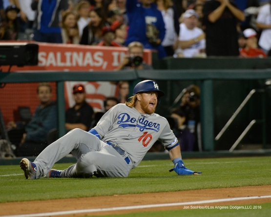 RedTurn3 during game against the Los Angeles Angels of Anaheim Wednesday, May 18, 2016 at Angels Stadium in Anaheim, California.  Jon SooHoo/©Los Angeles Dodgers,LLC 2016