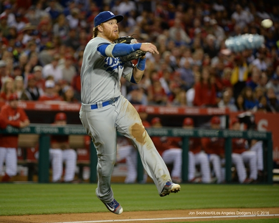 Justin Turner throws to first  against the Los Angeles Angels of Anaheim Wednesday, May 18, 2016 at Angels Stadium in Anaheim, California.  Jon SooHoo/©Los Angeles Dodgers,LLC 2016