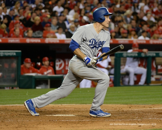 Chase Utley gets a hit against the Los Angeles Angels of Anaheim Wednesday, May 18, 2016 at Angels Stadium in Anaheim, California.  Jon SooHoo/©Los Angeles Dodgers,LLC 2016