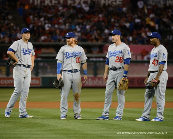 Los Angeles Dodgers infielders during game against the Los Angeles Angels of Anaheim Wednesday, May 18, 2016 at Angels Stadium in Anaheim, California.  Jon SooHoo/©Los Angeles Dodgers,LLC 2016