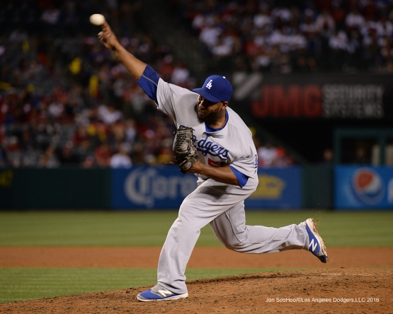 Los Angeles Dodgers Pedro Baez pitches against the Los Angeles Angels of Anaheim Wednesday, May 18, 2016 at Angels Stadium in Anaheim, California.  Jon SooHoo/©Los Angeles Dodgers,LLC 2016