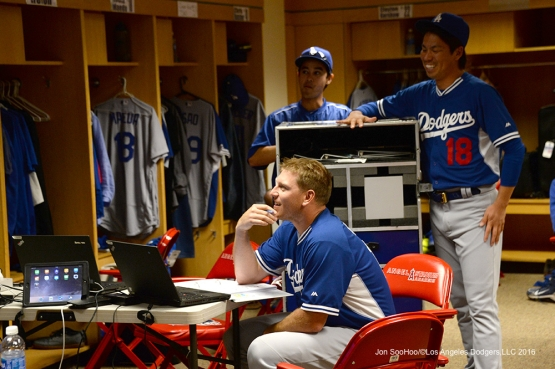 A.J. Ellis and Kenta Maeda in the clubhouse prior to game against the Los Angeles Angels of Anaheim Thursday, May 19, 2016 at Angels Stadium in Anaheim, California.  Jon SooHoo/©Los Angeles Dodgers,LLC 2016