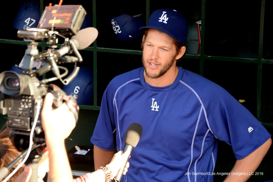 Clayton Kershaw is interviewed prior to game against the Los Angeles Angels of Anaheim Thursday, May 19, 2016 at Angels Stadium in Anaheim, California.  Jon SooHoo/©Los Angeles Dodgers,LLC 2016