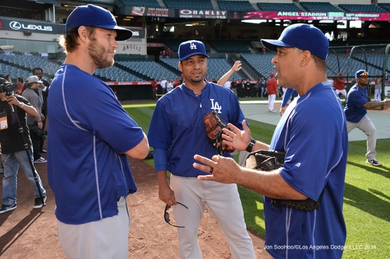 Clayton Kershaw, Juan Castro and Dave Roberts prior to game against the Los Angeles Angels of Anaheim Thursday, May 19, 2016 at Angels Stadium in Anaheim, California.  Jon SooHoo/©Los Angeles Dodgers,LLC 2016