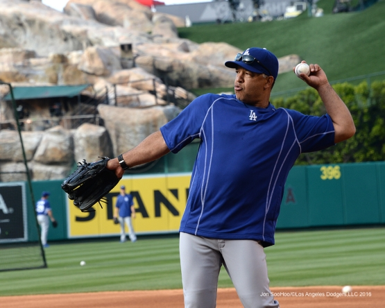 Dave Roberts prior to game against the Los Angeles Angels of Anaheim Thursday, May 19, 2016 at Angels Stadium in Anaheim, California.  Jon SooHoo/©Los Angeles Dodgers,LLC 2016