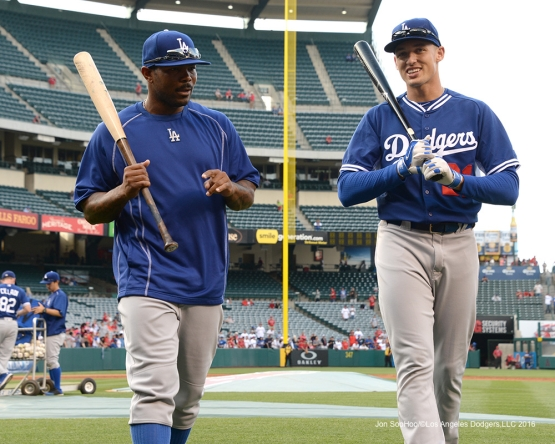 Howie Kendrick and Trayce Thompson  prior to game against the Los Angeles Angels of Anaheim Thursday, May 19, 2016 at Angels Stadium in Anaheim, California.  Jon SooHoo/©Los Angeles Dodgers,LLC 2016