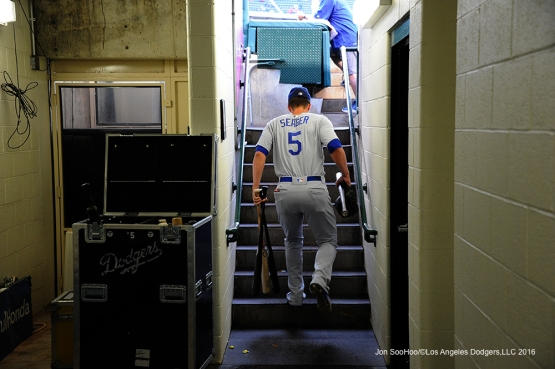 Los Angeles Dodgers Corey Seager heads to the field prior to game against the Los Angeles Angels of Anaheim Thursday, May 19, 2016 at Angels Stadium in Anaheim, California.  Jon SooHoo/©Los Angeles Dodgers,LLC 2016