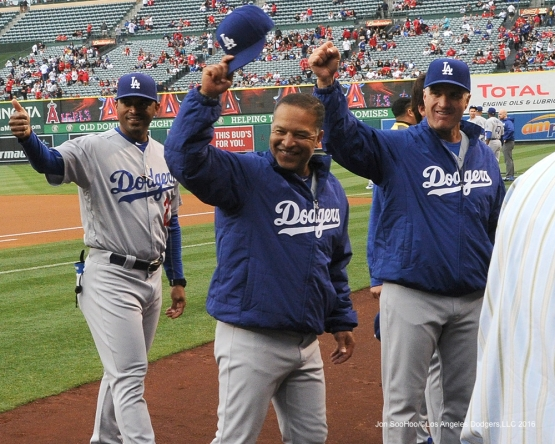 George Lombard, Dave Roberts and Bob Geren wave prior to game against the Los Angeles Angels of Anaheim Thursday, May 19, 2016 at Angels Stadium in Anaheim, California.  Jon SooHoo/©Los Angeles Dodgers,LLC 2016