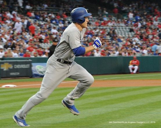 Chase Utley singles against the Los Angeles Angels of Anaheim Thursday, May 19, 2016 at Angels Stadium in Anaheim, California.  Jon SooHoo/©Los Angeles Dodgers,LLC 2016