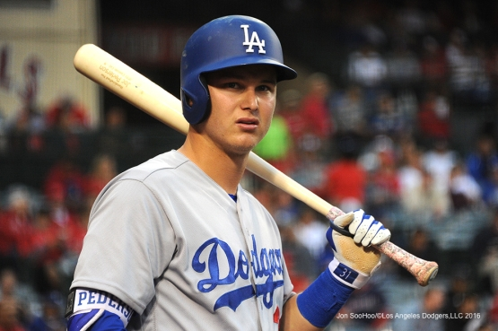Joc Pederson during game against the Los Angeles Angels of Anaheim Thursday, May 19, 2016 at Angels Stadium in Anaheim, California.  Jon SooHoo/©Los Angeles Dodgers,LLC 2016