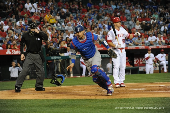 Yasmani Grandal chases down wild pitch against the Los Angeles Angels of Anaheim Thursday, May 19, 2016 at Angels Stadium in Anaheim, California.  Jon SooHoo/©Los Angeles Dodgers,LLC 2016