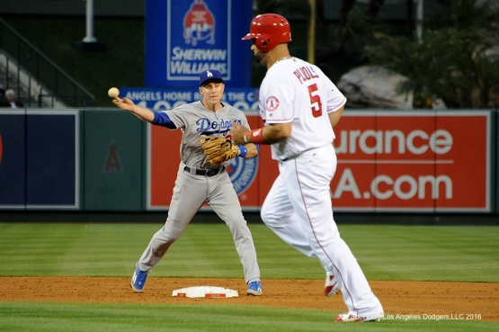 Chase Utley turns double play against the Los Angeles Angels of Anaheim Thursday, May 19, 2016 at Angels Stadium in Anaheim, California.  Jon SooHoo/©Los Angeles Dodgers,LLC 2016