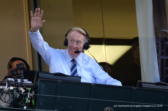 Vin Scully waves to the crowd during game against the Los Angeles Angels of Anaheim Thursday, May 19, 2016 at Angels Stadium in Anaheim, California.  Jon SooHoo/©Los Angeles Dodgers,LLC 2016