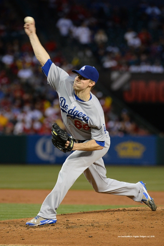 Ross Stripling against the Los Angeles Angels of Anaheim Thursday, May 19, 2016 at Angels Stadium in Anaheim, California.  Jon SooHoo/©Los Angeles Dodgers,LLC 2016