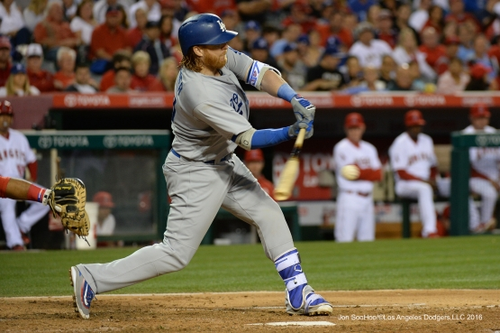 Justin Turner  against the Los Angeles Angels of Anaheim Thursday, May 19, 2016 at Angels Stadium in Anaheim, California.  Jon SooHoo/©Los Angeles Dodgers,LLC 2016