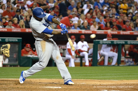 Los Angeles Dodgers Howie Kendrick triples against the Los Angeles Angels of Anaheim Thursday, May 19, 2016 at Angels Stadium in Anaheim, California.  Jon SooHoo/©Los Angeles Dodgers,LLC 2016