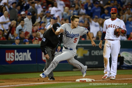 Los Angeles Dodgers Corey Seager scores  against the Los Angeles Angels of Anaheim Thursday, May 19, 2016 at Angels Stadium in Anaheim, California.  Jon SooHoo/©Los Angeles Dodgers,LLC 2016