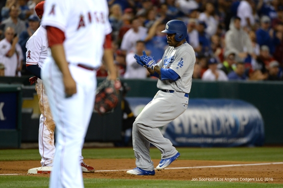 Howie Kendrick triples against the Los Angeles Angels of Anaheim Thursday, May 19, 2016 at Angels Stadium in Anaheim, California.  Jon SooHoo/©Los Angeles Dodgers,LLC 2016