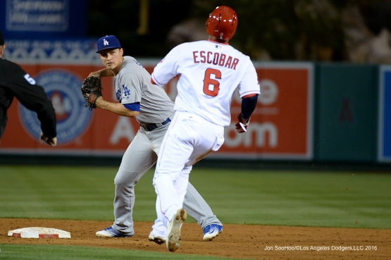 Los Angeles Dodgers Corey Seager turns double play against the Los Angeles Angels of Anaheim Thursday, May 19, 2016 at Angels Stadium in Anaheim, California.  Jon SooHoo/©Los Angeles Dodgers,LLC 2016