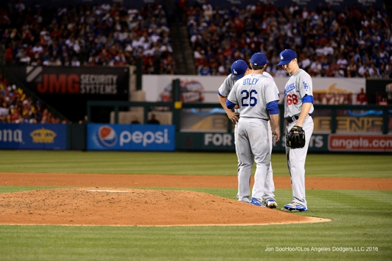 Chase Utley talks to Ross Stripling during game against the Los Angeles Angels of Anaheim Thursday, May 19, 2016 at Angels Stadium in Anaheim, California.  Jon SooHoo/©Los Angeles Dodgers,LLC 2016