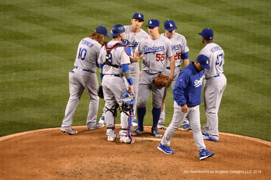 Joe Blanton comes into the game against the Los Angeles Angels of Anaheim Thursday, May 19, 2016 at Angels Stadium in Anaheim, California.  Jon SooHoo/©Los Angeles Dodgers,LLC 2016