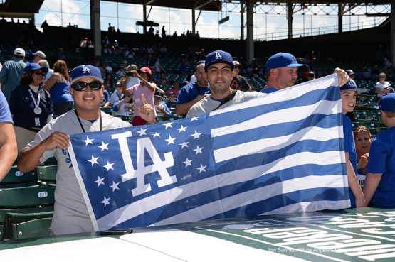 Great Patriotic Los Angeles Dodger fans prior to game vs the Chicago Cubs Monday, May 30,2016 at Wrigley Field in Chicago,Illinois. Photo by Jon SooHoo/©Los Angeles Dodgers,LLC 2016