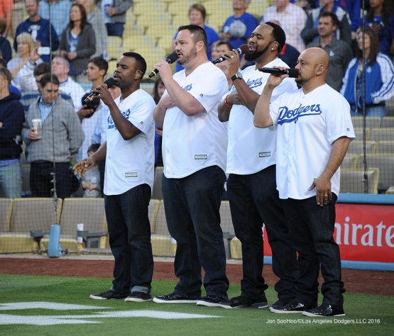 Grammy award-winning group All-4-One sings the anthem prior to game against the Cincinnati Reds Monday, May 23,2016 at Dodger Stadium in Los Angeles,California. Photo by Jon SooHoo