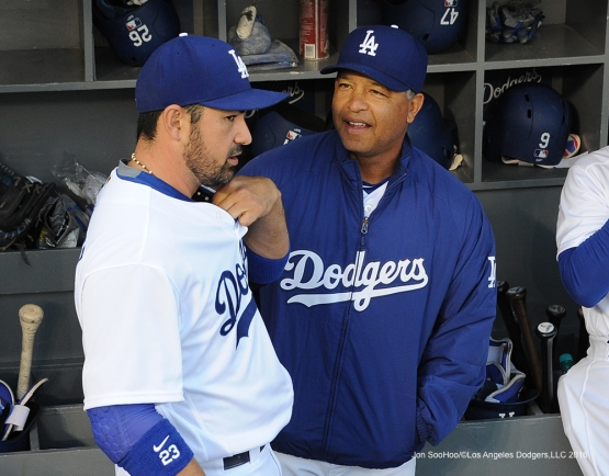 Los Angeles Dodgers Adrian Gonzalez and Dave Roberts prior to game against the Cincinnati Reds Monday, May 23,2016 at Dodger Stadium in Los Angeles,California. Photo by Jon SooHoo