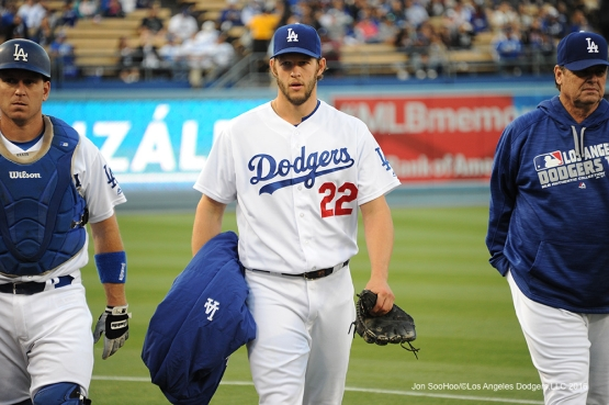 Los Angeles Dodgers Clayton Kershaw heads to the dugout prior to game against the Cincinnati Reds Monday, May 23,2016 at Dodger Stadium in Los Angeles,California. Photo by Jon SooHoo
